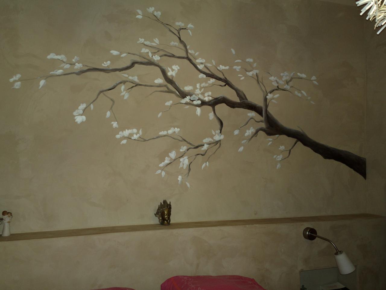 Branche peinte en aquarelle sur enduit 2 tons
