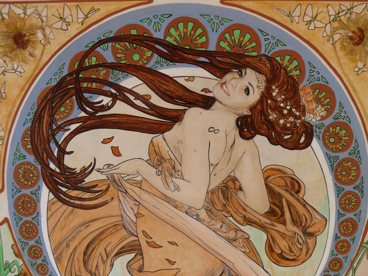 Inspiration Mucha avec le portrait d'Anne